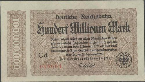 alemania deutsche reichbahn 100000000 mark 25 sep 1923 s1017