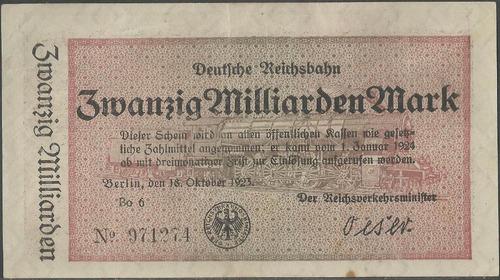 alemania deutsche reichbahn 20000000 mark 18 oct 1923 s1022