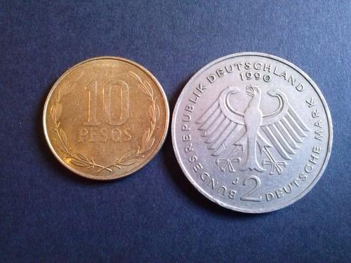 alemania federal 2 mark kurt schumacher 1990 ceca j ( c25)