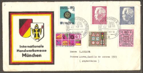 alemania federal tema europa sobre año 1968 con 6 sellos