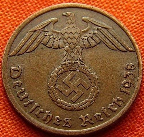 alemania nazi espectacular 1 reichspfenig 1938 terc. reich