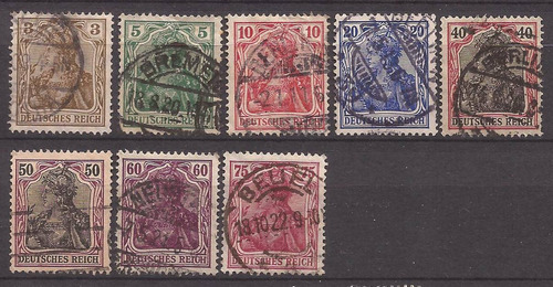 alemania reich 1902 serie germania 38 sellos usados 45 u$d