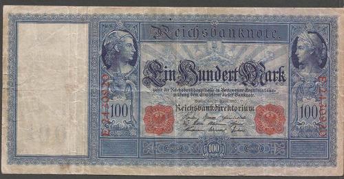 alemania reich 1910 billete 100 marcos usado carmin