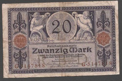 alemania reich 1915 billete 20 marcos usado