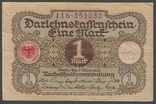 alemania reich 1920 billete de 1 marco usado