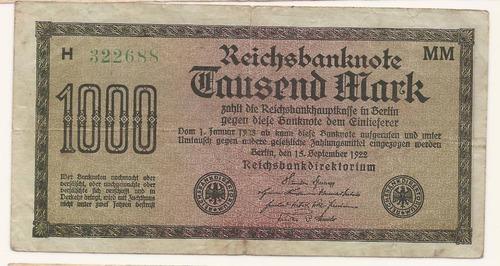 alemania reich 1922 billete 1000 marcos usado