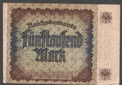 alemania reich 1922 billete 5000 marcos usado