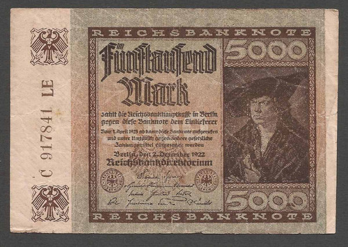 alemania reich 1922 billete 5000 marcos usado impecable