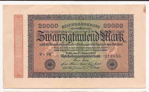 alemania reich 1923 billete 20000 marcos usado