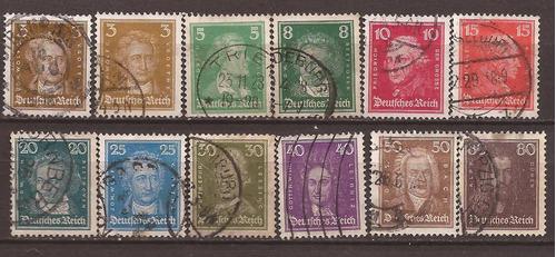 alemania reich 1926 serie 12 sellos usados 15 u$d - 004