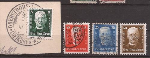 alemania reich 1927 serie 4 sellos usados 48 u$d