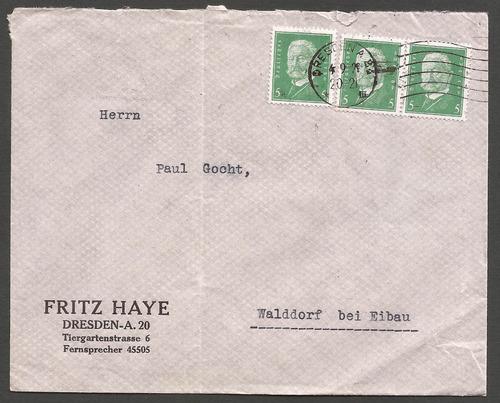 alemania reich 1929 sobre de dresden a walddorf