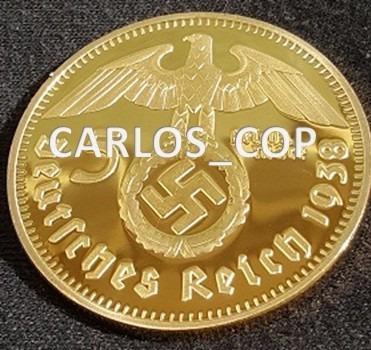 alemania reick reichsmark bañada en oro 5 marco 1938