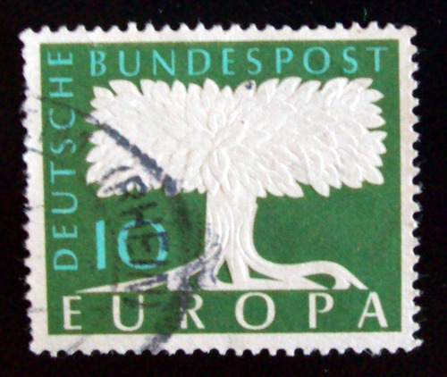 alemania, sello mi. 294 europa 58 filigrana usado l4616