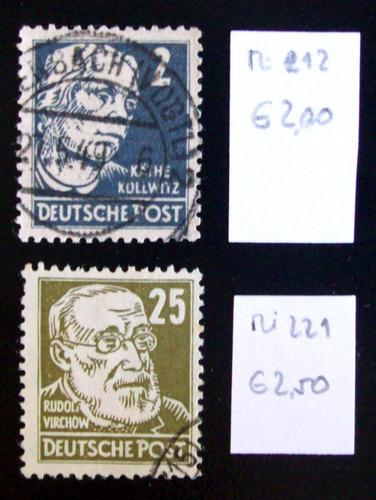 alemania, soviet - lote mi 212-221 personalidad usados l4562