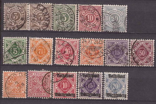 alemania wurttemberg 1875 - 16 sellos usados