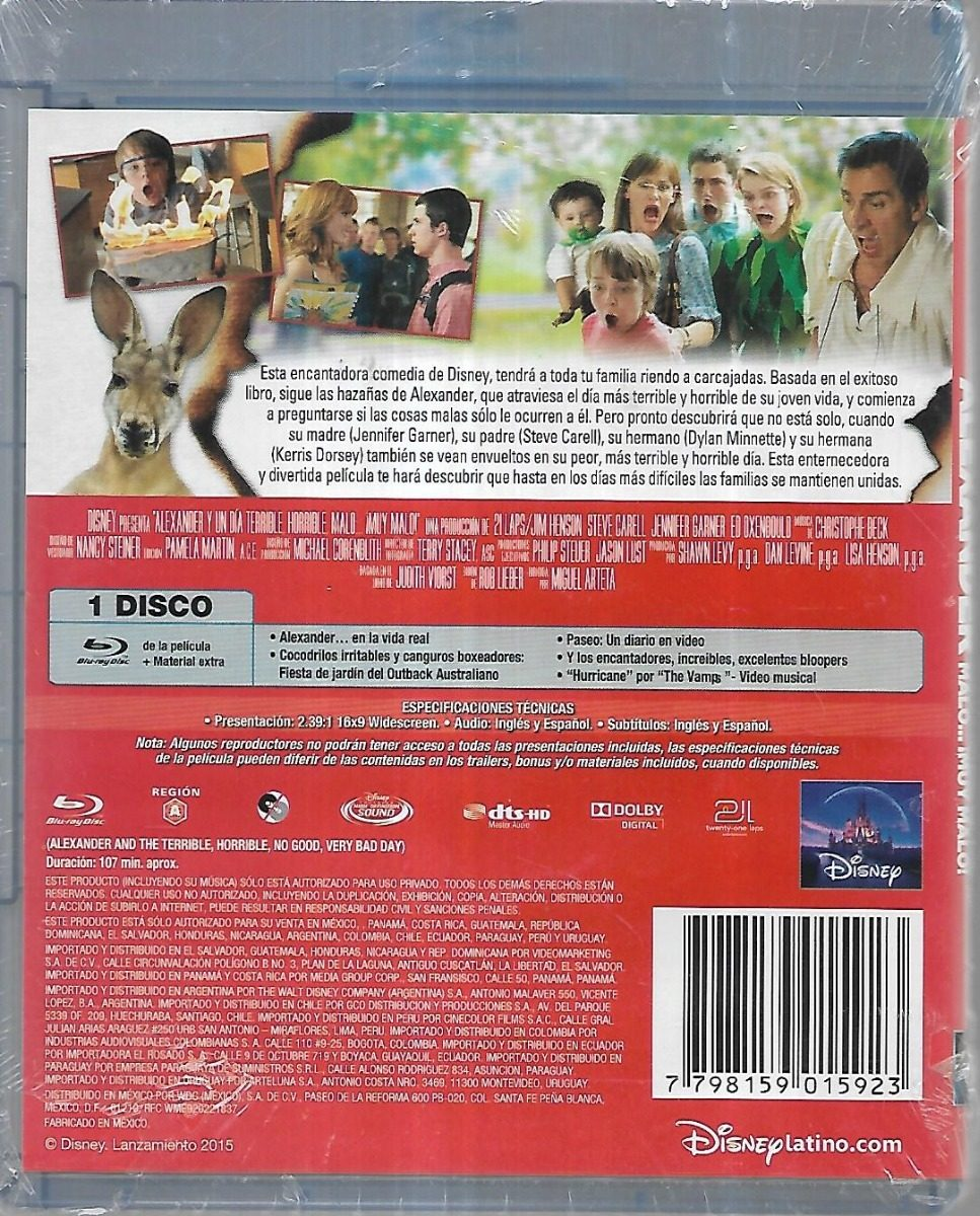 Alexander Y Un Dia Terrible Steve Carell J Garner Blu Ray 500