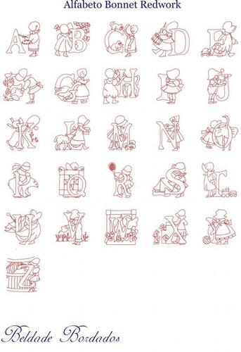 alfabeto bonnet redwork - coleção de matriz de bordado