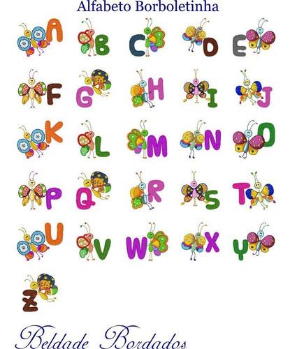 alfabeto borboletinha - coleção de matriz de bordado