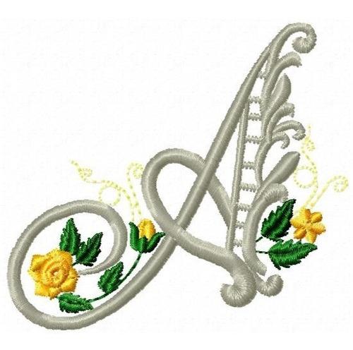 alfabeto com rosas rechilieu - coleção de matriz de bordado