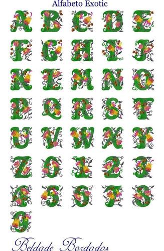 alfabeto exotic - coleção de matriz de bordado