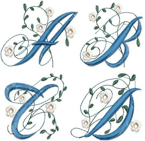 alfabeto floral - 3 - 26 matrizes de bordados comp via email