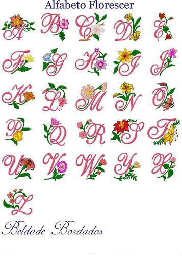 alfabeto florescer - coleção de matriz de bordado