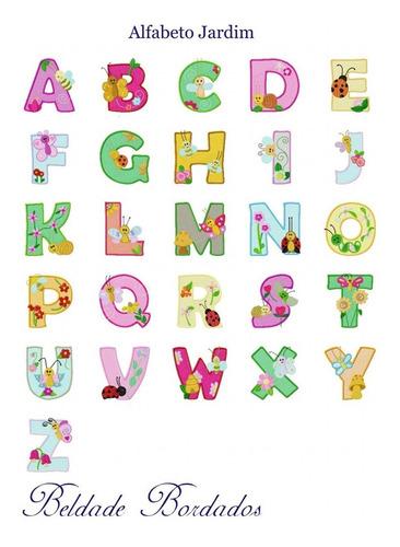 alfabeto jardim - coleção de matriz de bordado letras pacote