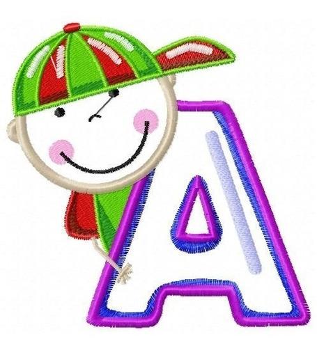 alfabeto menino aplique grande - col. de matriz de bordado