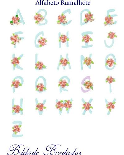 alfabeto ramalhete - coleção de matriz de bordado