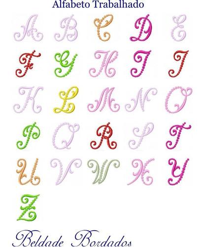 alfabeto trabalhado - coleção de matriz de bordado