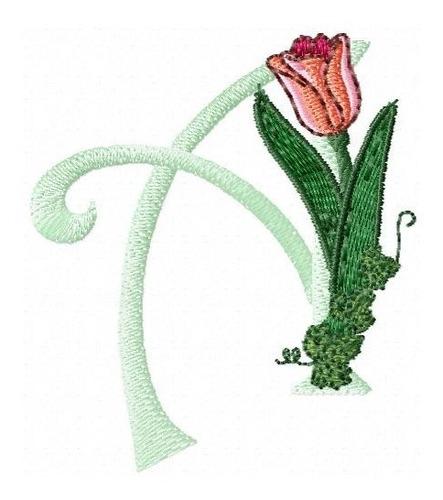 alfabeto tulipa - coleção de matriz de bordado