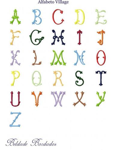 alfabeto village - coleção de matriz de bordado pacote