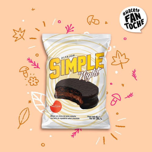 alfajor chocolate simple night relleno fantoche 50g caja x12