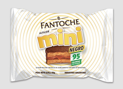 alfajor mini fantoche chocolate bolsa x10 x25g c/u pack