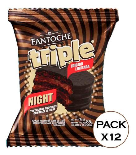 alfajor triple night chocolate relleno fantoche 85g caja x12