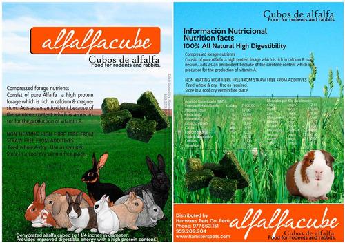 alfalfa king grass timothy 300 gr/ cubos de alfalfa (conejo)