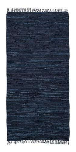 alfombra cuero negra pasillo 70x140 okko