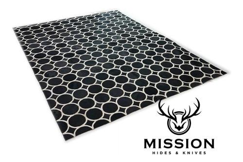 alfombra cuero pelo patch 1.8 x 2.4m circulo blanco negro