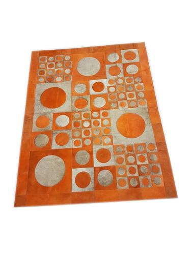 alfombra cuero pelo patchwork 1.4 x 1.8 m multiforma