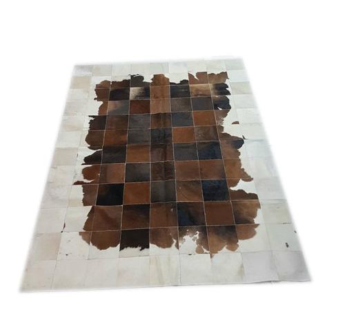 alfombra cuero pelo patchwork 1.8 x 2.4 m marron