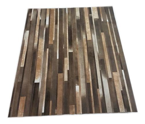 alfombra cuero pelo patchwork tiras 1.4 x 1.8 m