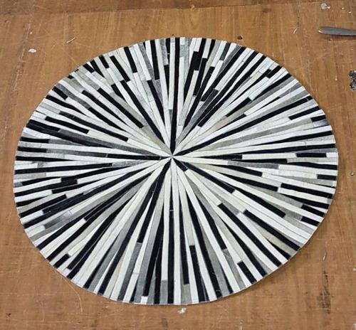alfombra cuero vaca circular 1.9 m diametro tiras