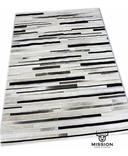 alfombra cuero vaca gris tiras 3.0 x 2.0