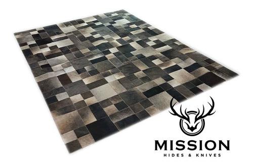 alfombra cuero vaca patchwork gris multiforma 1,8 x 2.4m