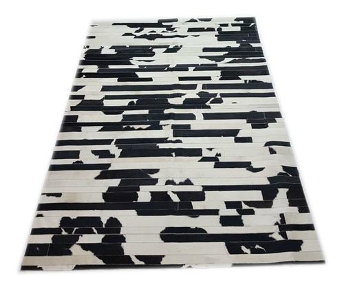 alfombra cuero vaca tiras patchwork 1.8 x 2.4m