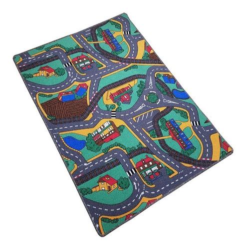 alfombra infantil calles pista 100x140cm antideslizante soul