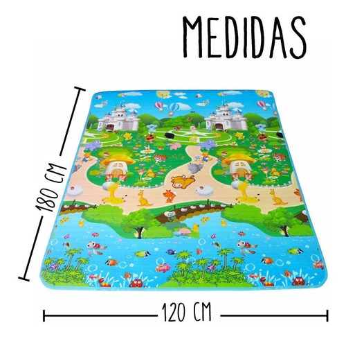 alfombra infantil piso manta antigolpes bebe gateo 1,2x1,8 p