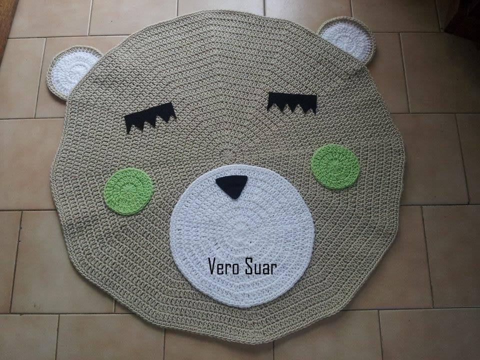 Alfombra Oso/ Osa /buho Tejida Al Crochet - $ 1.200,00 en Mercado Libre