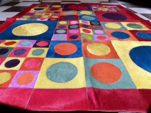 alfombra patchwork cuero vaca con pelo color 1,4 m x 1,8 m